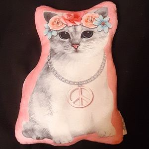 Large kitty cat pillow wearing peace sign & flower